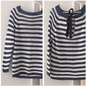 M Made In Italy Striped Knit Bow Sweater SZ L